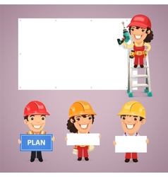 Builders Presenting Empty Banners vector image