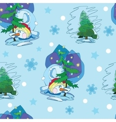 Cute Snowmen Under Christmas Trees Seamless vector image vector image