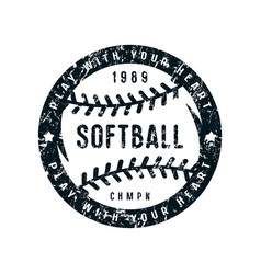 emblem of softball championship vector image vector image
