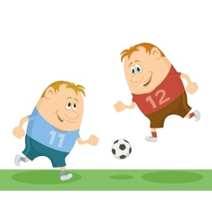 Football players playing soccer vector image
