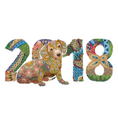 number 2018 zentangle with dog decorative vector image vector image