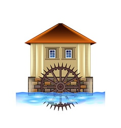 Old water mill isolated on white vector image vector image