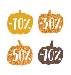 stylish glitter pumpkins labels vector image