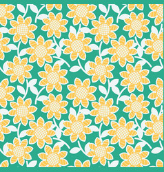 Sunflowers seamless pattern vector