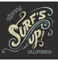 Surfs Up hand-lettering tee vector image vector image