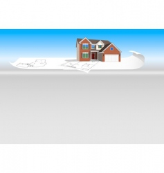 Detailed house model on plans vector