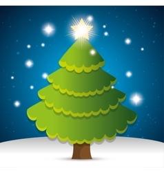 happy merry christmas tree pine vector image