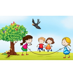 kids and a tree vector image