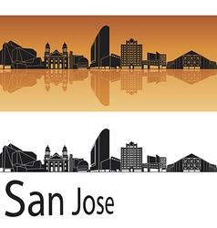 San Jose skyline in orange background vector image