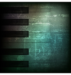 abstract dark green grunge background with piano vector image vector image