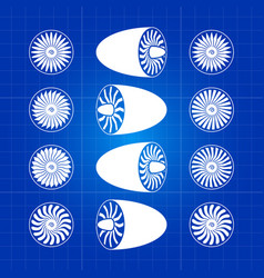 aircraft white engine turbines on blue background vector image vector image