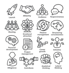 Business management icons in line style Pack 01 vector image vector image