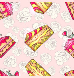 cakes seamless pattern with peony vector image