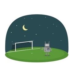 Cartoon of robot on a soccer field under vector image vector image