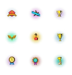 Competition icons set pop-art style vector image