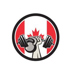 Hand lifting barbell kettlebell canada flag vector