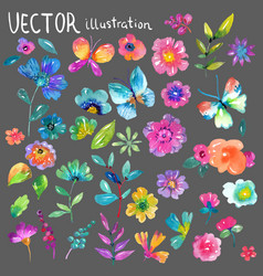 colorful floral collection with flowers leaves vector image vector image