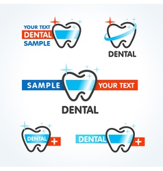 dental tooth symbol sign icons set vector image vector image