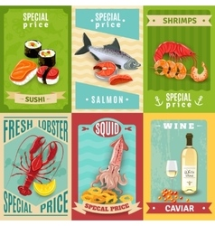Seafood Poster Set vector image