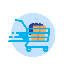shopping cart isolated on white background vector image