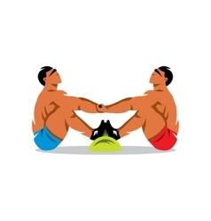 Tug of stick Yakut Sports Cartoon vector image