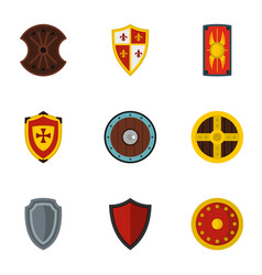 various knight shield icons set flat style vector image