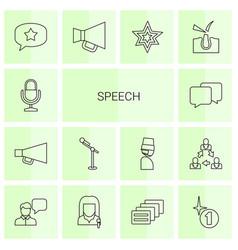 14 speech icons vector image