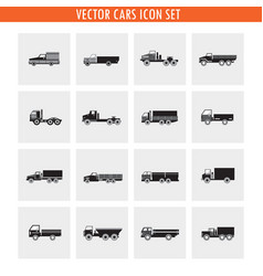 16 truck cars icon set neutral color black and vector image
