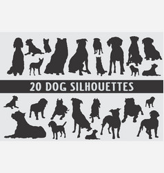 20 dogs silhouettes various design set vector image