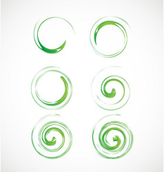Abstract green swirl element icon vector