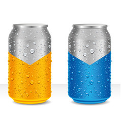 Aluminum cans in orange and blue with water drops vector