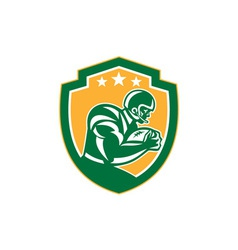American Football Player Running Shield Retro vector image