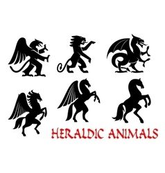 Animals heraldic emblems silhouette icons vector