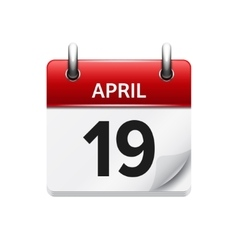 April 19 flat daily calendar icon Date vector