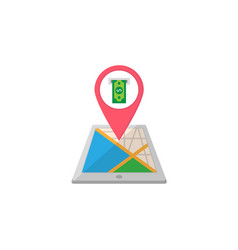 Atm terminal map pointer flat icon mobile gps vector