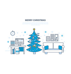atmosphere of the new year festive interior room vector image