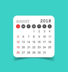 August 2018 calendar calendar sticker design vector