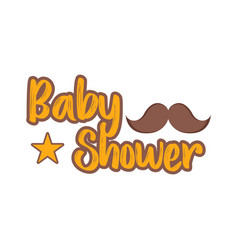 baby shower label with a mustache vector image