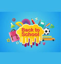 back to school sale banner poster 3d design vector image