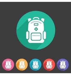 Backpack schoobag rucksack flat icon vector