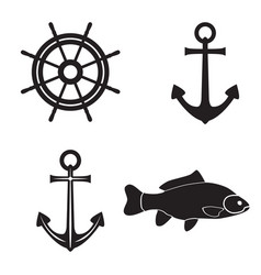 black silhouettes of an anchor fish and steering vector image