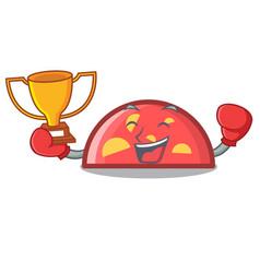 Boxing winner semicircle mascot cartoon style vector