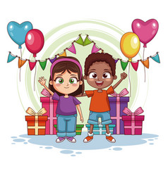 Boy and girl on birthday party vector
