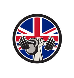 British hand lift barbell kettlebell union jack vector