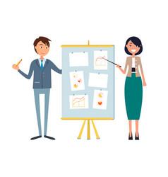 Business seminar businesswoman and man presenters vector