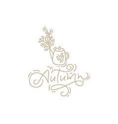 Calligraphy lettering monoline autumn text vector
