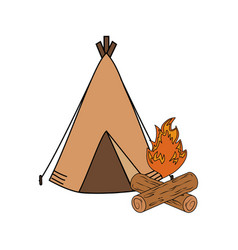 Camping tent with campfire vector