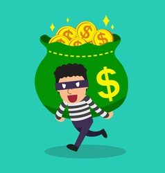 Cartoon a thief carrying big money bag vector image