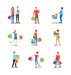 cartoon characters different shopping people set vector image