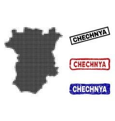 Chechnya map in halftone dot style with grunge vector